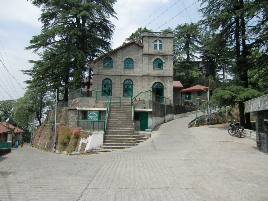 To the right of this church you can see part of Landour Language school